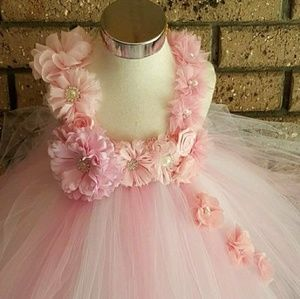Other - White and Pink Flower Girl Tutu Dress - Full size